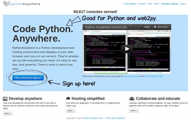 creating pythonanywhere development account for web projects