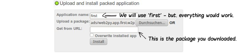 upload web app to web2py app admin